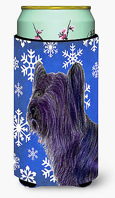 Skye Terrier Winter Snowflakes Holiday  Tall Boy Beverage Insulator Beverage Ins