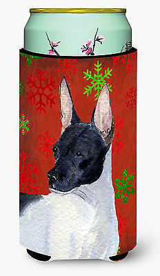 Rat Terrier Red and Green Snowflakes Holiday Christmas  Tall Boy Beverage Insula