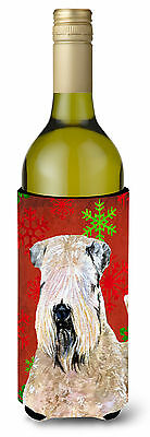 Wheaten Terrier Soft Coated Snowflakes Holiday Christmas Wine Bottle Beverage In