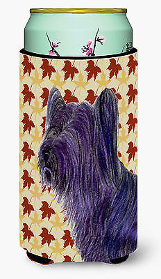 Skye Terrier Fall Leaves Portrait  Tall Boy Beverage Insulator Beverage Insulato