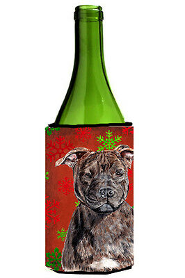 Staffordshire Bull Terrier Staffie Red Snowflakes Holiday Wine Bottle Beverage I