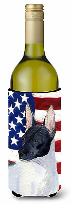USA American Flag with Rat Terrier Wine Bottle Beverage Insulator Beverage Insul