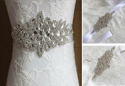 New Vintage White/Ivory Bridal Wedding Dress Rhinestone Sash Beaded Crystal Belt
