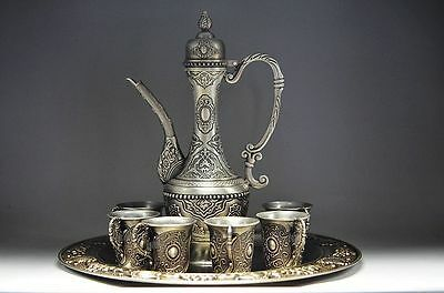 Chinese ancient gold-plated silver teapot and cup and tray