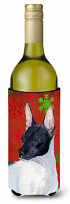 Rat Terrier  Snowflakes Holiday Christmas Wine Bottle Beverage Insulator Beverag