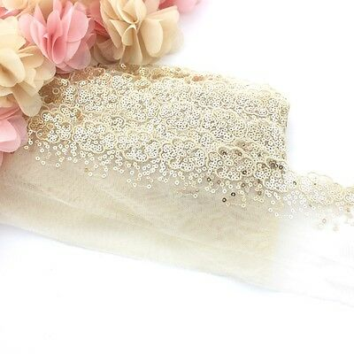 1 Meter of gold floral lace sequin trim for clothing and crafts