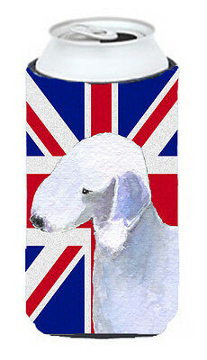 Bedlington Terrier with English Union Jack British Flag Tall Boy Beverage Insula