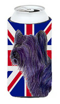 Skye Terrier with English Union Jack British Flag Tall Boy Beverage Insulator Hu