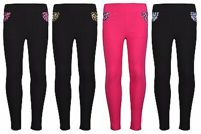 Girls Children Skinny Jeans Side Leopard Print Soft Jeggings Trousers Pants 4-14