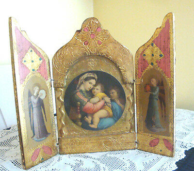 Vintage Florentinegold Gilt Wood Icon Triptych Madonna/child/angels/ Italy