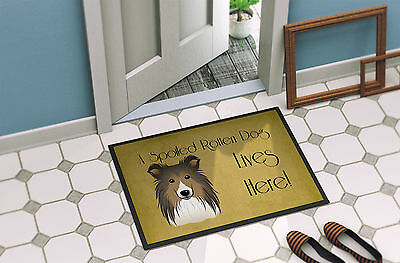 Sheltie Spoiled Dog Lives Here Indoor or Outdoor Mat 18x27