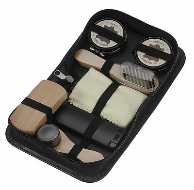 Mens Shoe Shine Polish Kit in Travel Case - Perfect for Black & Neutral shoes