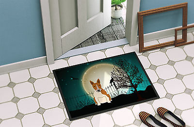 Halloween Scary Bull Terrier Red White Indoor or Outdoor Mat 18x27
