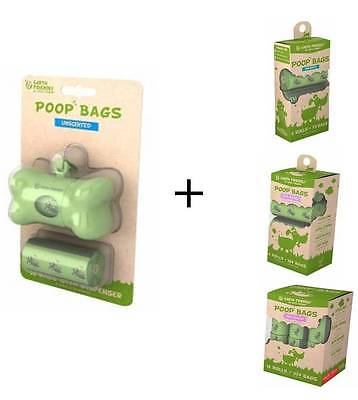 Dog Poo Bags Biodegradable Dispenser + Rolls Scented Unscented Earth Friendly
