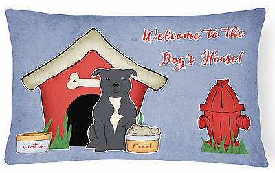 Dog House Collection Staffordshire Bull Terrier Blue Canvas Fabric Decorative Pi