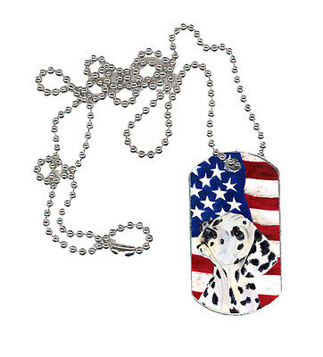 Carolines Treasures  SS4018DT USA American Flag with Dalmatian  Dog Tag