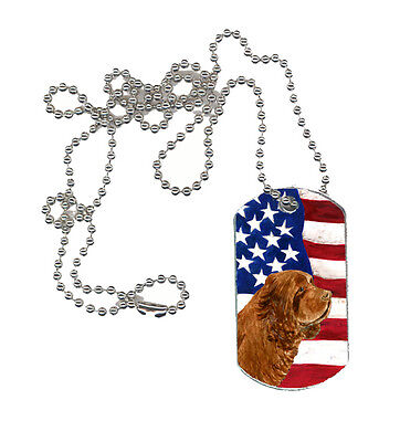 Carolines Treasures  SS4037DT USA American Flag with Sussex Spaniel  Dog Tag