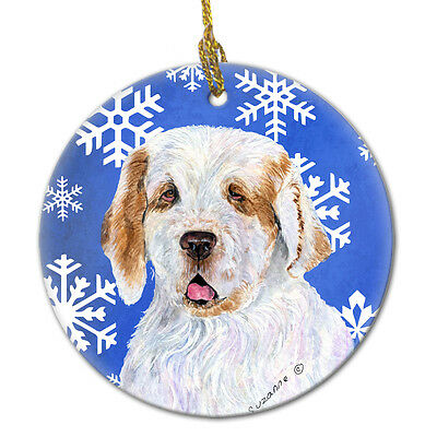 Clumber Spaniel Winter Snowflakes Holiday Christmas Ceramic Ornament SS4638