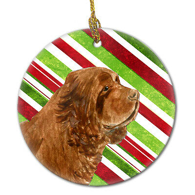 Sussex Spaniel Candy Cane Holiday Christmas Ceramic Ornament SS4579