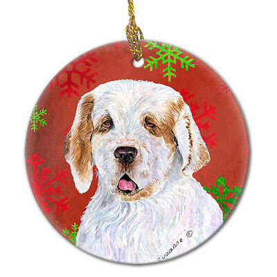 Clumber Spaniel Red Snowflakes Holiday Christmas Ceramic Ornament SS4707