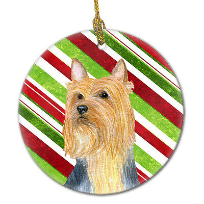 Silky Terrier Candy Cane Holiday Christmas Ceramic Ornament LH9226