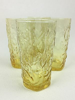 Estate Set of 4  RETRO Crinkle Yellow Flat Iced Tea Glasses Tumblers