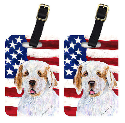 Pair of USA American Flag with Clumber Spaniel Luggage Tags