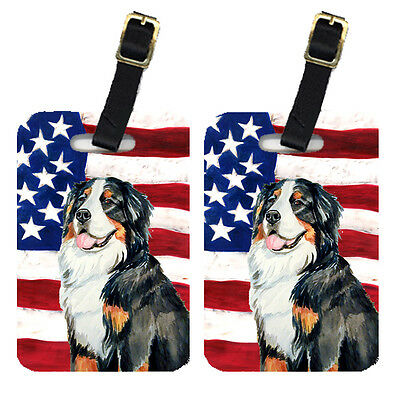 Pair of USA American Flag with Bernese Mountain Dog Luggage Tags