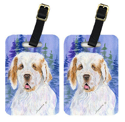 Carolines Treasures  SS8008BT Pair of 2 Clumber Spaniel Luggage Tags