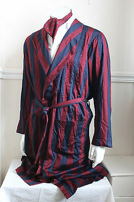 vintage St Michael red/navy stripe dressing gown smoking jacket 60s mens M 40""