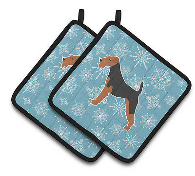 Winter Snowflake Airedale Terrier Pair of Pot Holders