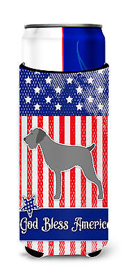 USA Patriotic German Wirehaired Pointer Michelob Ultra Hugger for slim cans