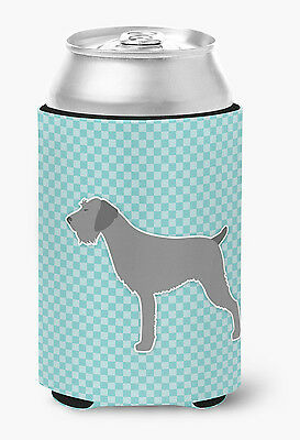 German Wirehaired Pointer Checkerboard Blue Can or Bottle Hugger
