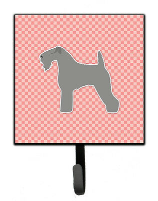 Kerry Blue Terrier Checkerboard Pink Leash or Key Holder