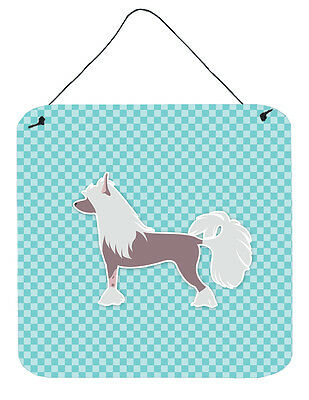 Chinese Crested Checkerboard Blue Wall or Door Hanging Prints