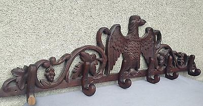 Huge antique german black forest hook hanger made of wood eagle
