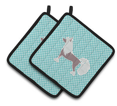 Chinese Crested Checkerboard Blue Pair of Pot Holders