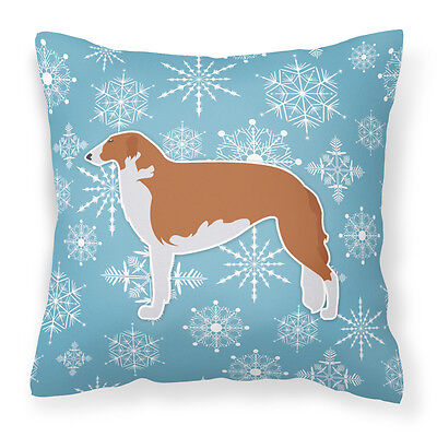 Winter Snowflake Borzoi Russian Greyhound Fabric Decorative Pillow