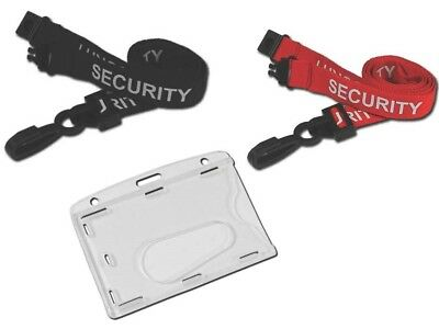 SECURITY Lanyard BLACK With ID pass Enclosed Card Badge Holder - FREE P&P!!!