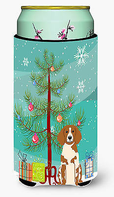 Merry Christmas Tree Brittany Spaniel Tall Boy Beverage Insulator Hugger