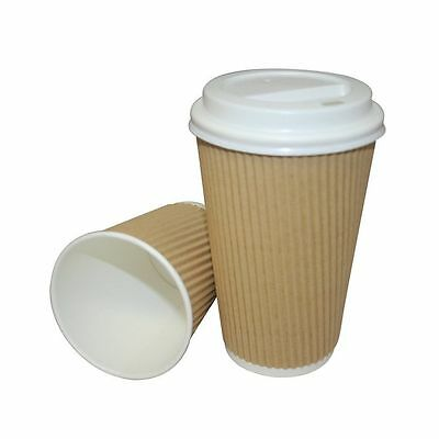 100 x 12oz Kraft Triple Walled Ripple Cups with White Lids, FREE EXPRESS DELIVER