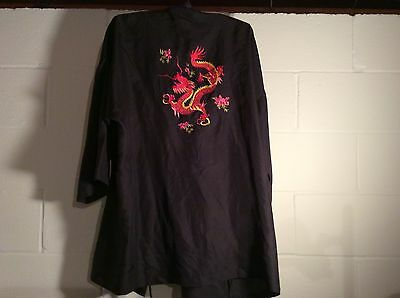 Chinese Silk Robe Black  Embroiled Red Dragon On Back Sz S