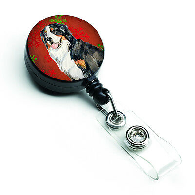 Bernese Mountain Dog Red  Green Snowflakes Holiday Christmas Retractable Badge R