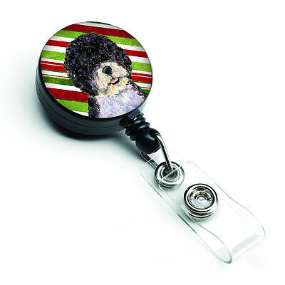 Portuguese Water Dog Candy Cane Holiday Christmas Retractable Badge Reel