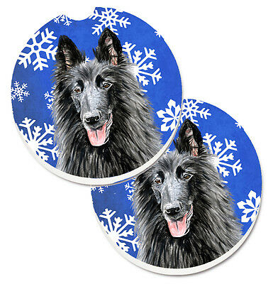 Belgian Sheepdog Winter Snowflakes Holiday Set of 2 Cup Holder Car Coasters