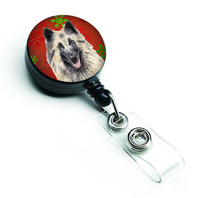 Belgian Tervuren Red and Green Snowflakes Holiday Christmas Retractable Badge Re