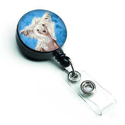 Carolines Treasures  LH9392BUBR Blue Chinese Crested Retractable Badge Reel
