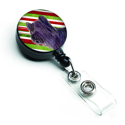 Skye Terrier Candy Cane Holiday Christmas Retractable Badge Reel