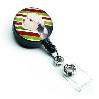 Dandie Dinmont Terrier Candy Cane Holiday Christmas Retractable Badge Reel