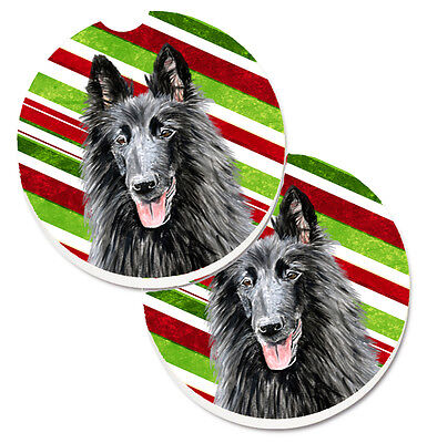 Belgian Sheepdog Candy Cane Holiday Christmas Set of 2 Cup Holder Car Coasters